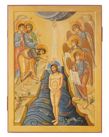 Icona sacra dipinta Battesimo Gesù