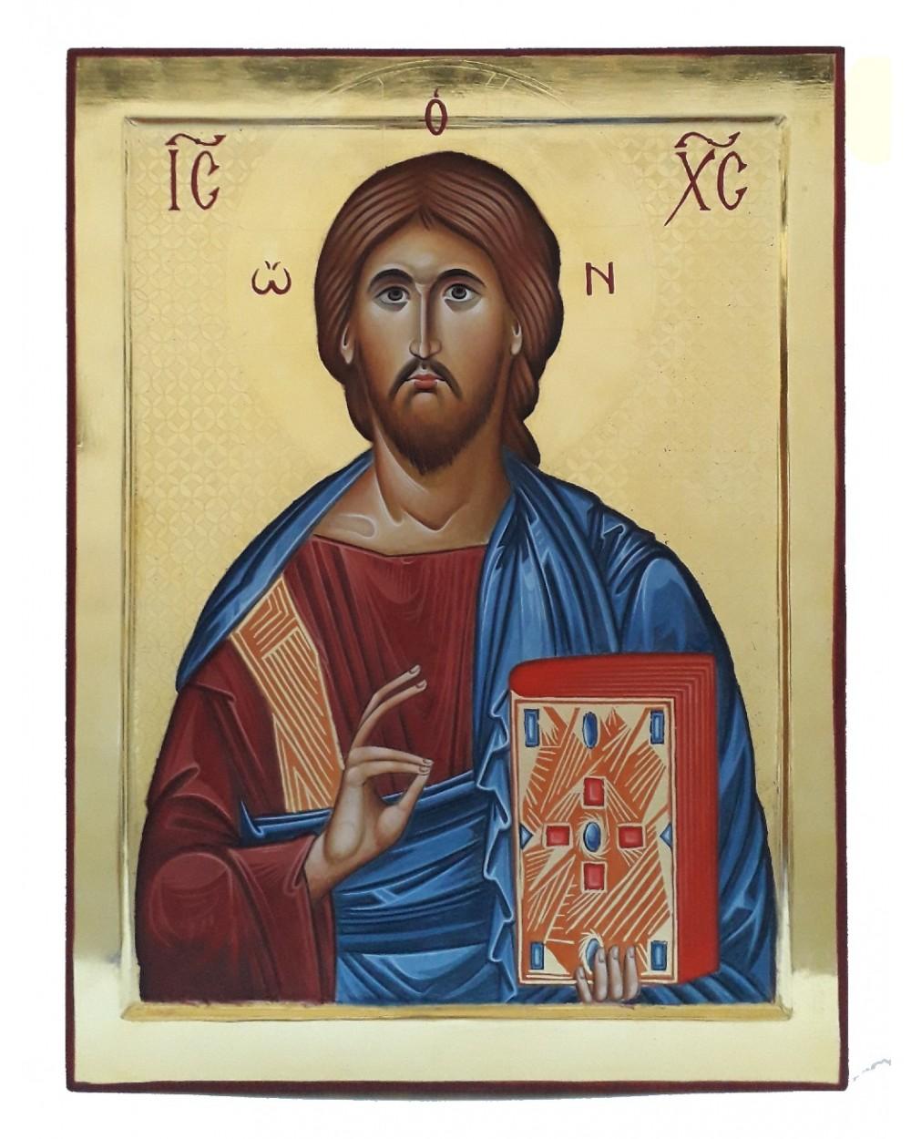 Icona sacra Cristo Pantocratore dipinta a mano