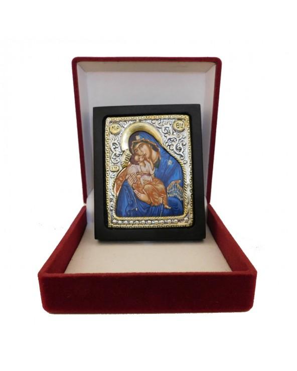 Icona Madonna della Tenerezza con riza in argento e cofanetto
