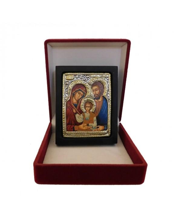 Icona Sacra Famiglia con riza in argento e cofanetto