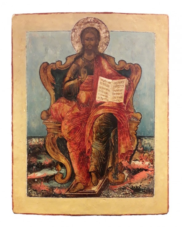 Icona russa antica Cristo in trono dipinta a mano
