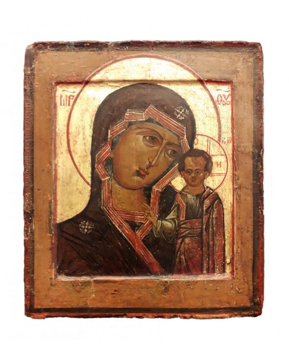 Icona russa antica Madre di Dio di Kazan